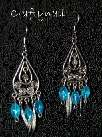 aqua and silver feather earrings