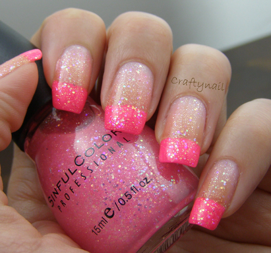 Pinky glitter french manicure craftynail