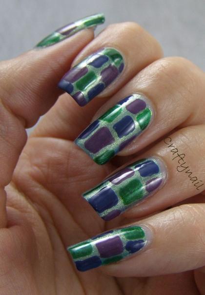 green_blue_purple_panels_nail_art