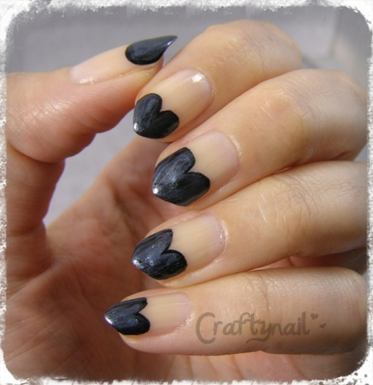 black hearts nail tips by Craftynail