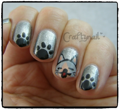 cartoon kitty nails
