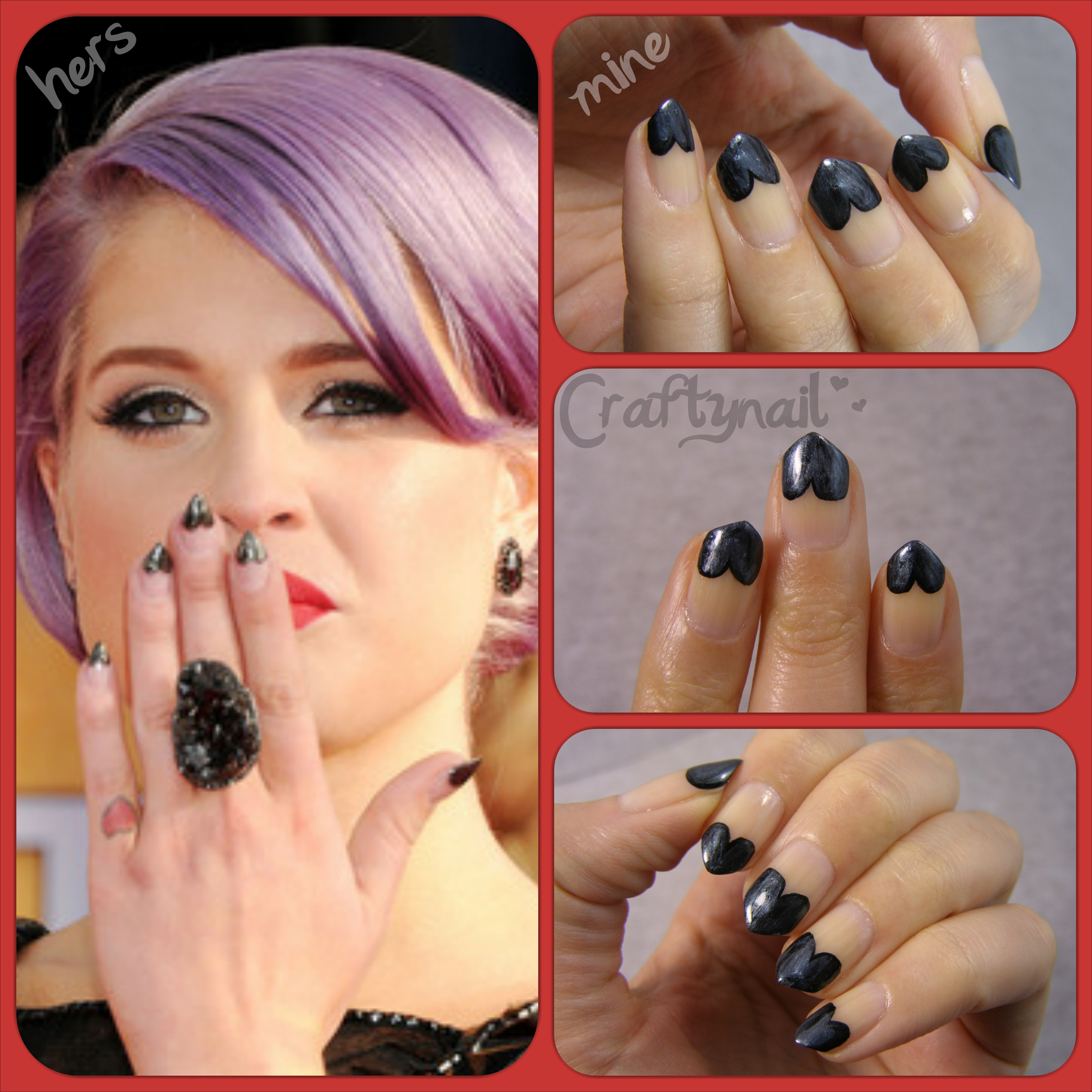 Copycat: Kelly Osbourne\'s pointy black heart nails! | Craftynail