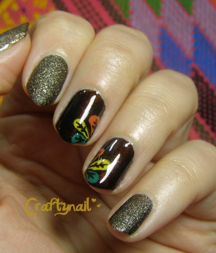fall feather nails