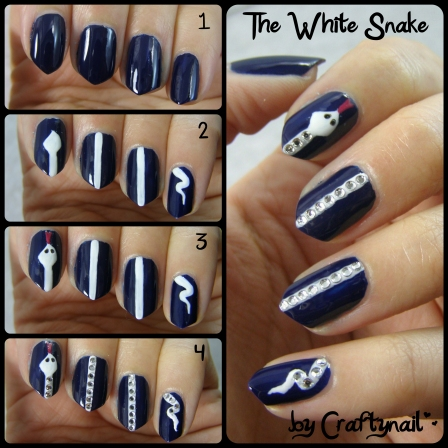 white snake nail tutorial by Craftynail