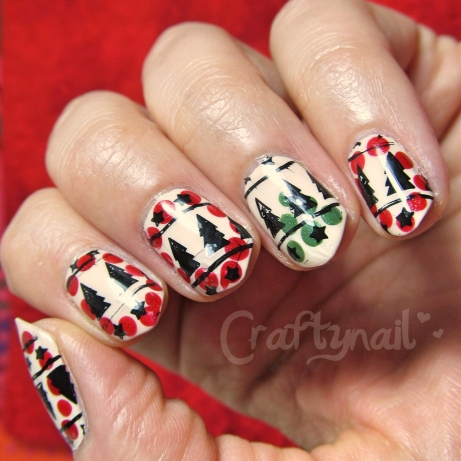 stamped and dotted holiday nail art