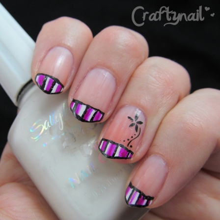 pink striped french mani