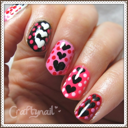 valentines heart nails with dots