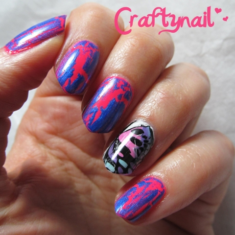 pink and blue crackle
