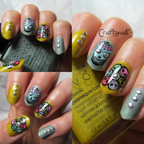 alien sugar skull nails