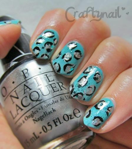 aqua leopard nailart