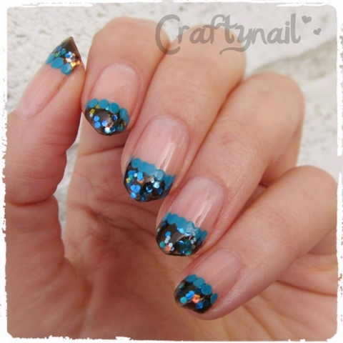 blue and brown glitter french mani