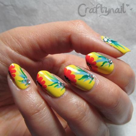 brazil floral nailart