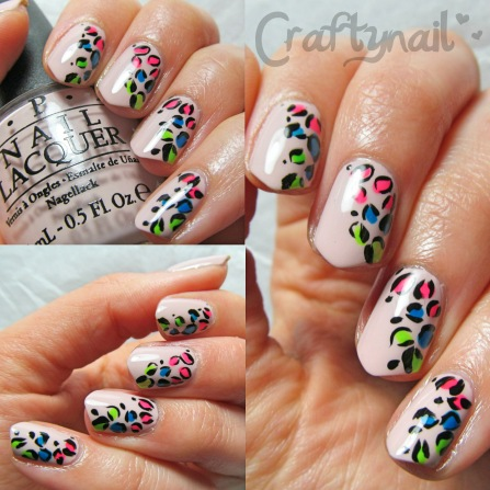 nude and neon leopard nail art
