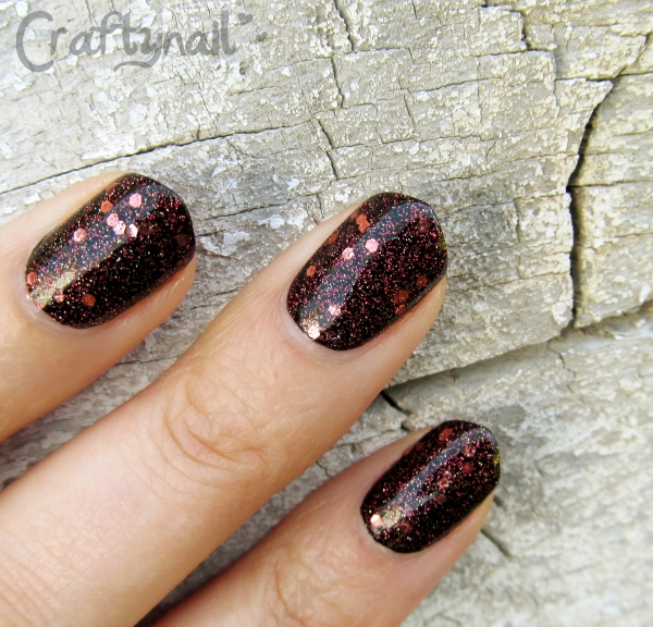 copper glitter swatch