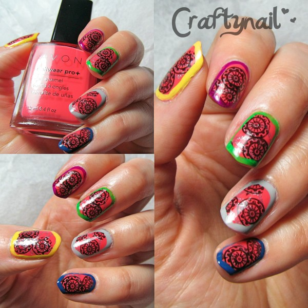 multi colored border nails