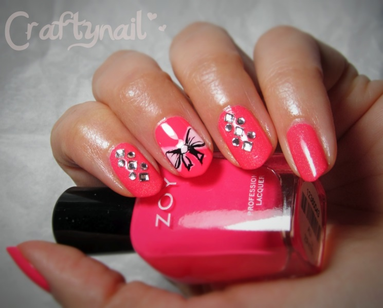 hot pink nails with diamonds-#19