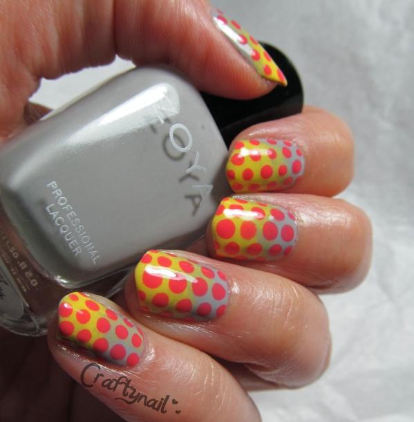 grey dot nail art